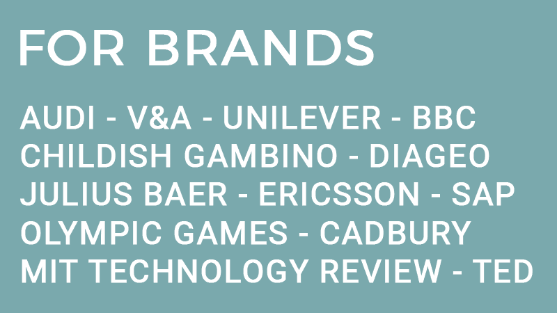 Elena Corchero Innovation Strategy R&D for brands Audi V&A Unilever BBC Childish Gambino Diageo Julius Baer Ericsson SAP Olympic Games Cadbury MIT Technology Review TED